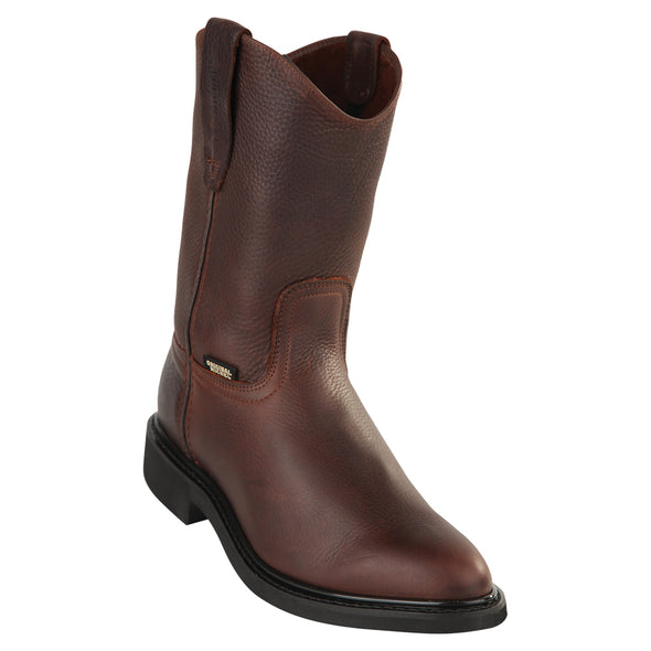 Men's Original Michel Pull On Work Boots Rubber Sole Soft Toe Brown - yeehawcowboy