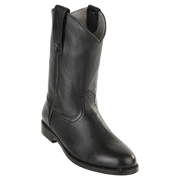 Men's Original Michel Pull On Roper Boots With Leather Sole Black - yeehawcowboy
