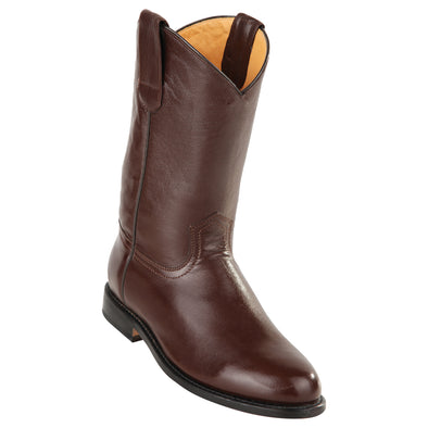Men's Original Michel Pull On Roper Boots With Leather Sole Brown - yeehawcowboy