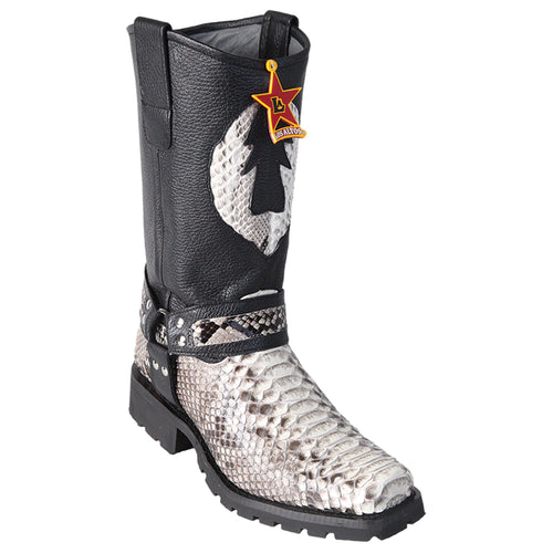 Men's Los Altos Python Biker Boots With Industrial Sole Handmade - yeehawcowboy