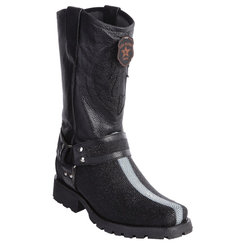 Men's Los Altos Shaved Stingray Motorcycle Biker Boots Handmade - yeehawcowboy