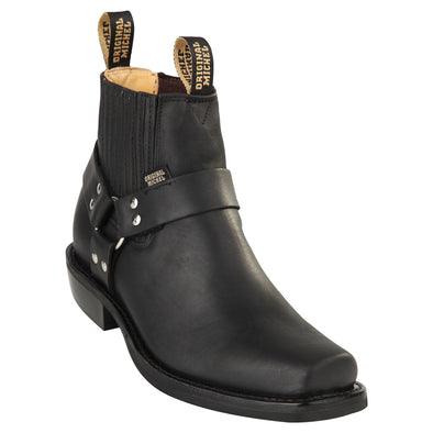 Orignal Michel Short Harness Boots With Pull Straps Rubber Sole - yeehawcowboy