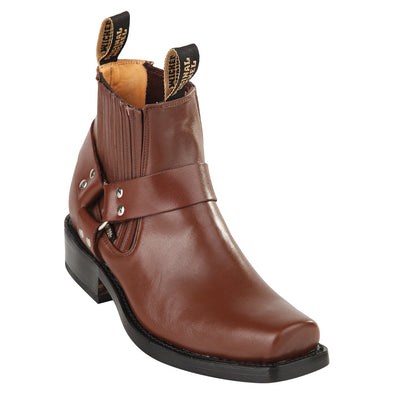Orignal Michel Short Harness Boots With Pull Straps Leather Sole - yeehawcowboy