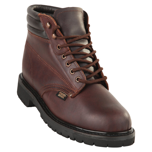 Men's Original Michel 6-inch Lace Up Work Boots Brown Soft Toe - yeehawcowboy