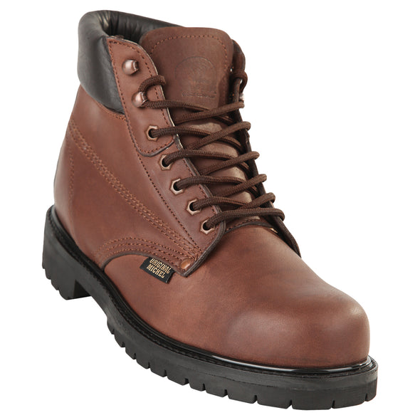 Men's Original Michel 6-inch Lace Up Work Boots Brown Steel Toe - yeehawcowboy