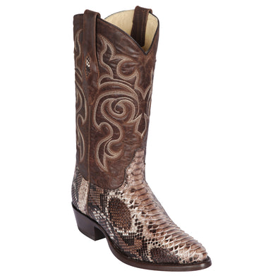 Men's Los Altos Genuine Python Medium Round Toe Boots Handmade - yeehawcowboy