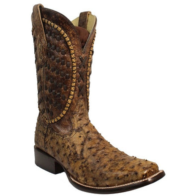 Men's Corral Ostrich Boots Handcrafted Brown - yeehawcowboy