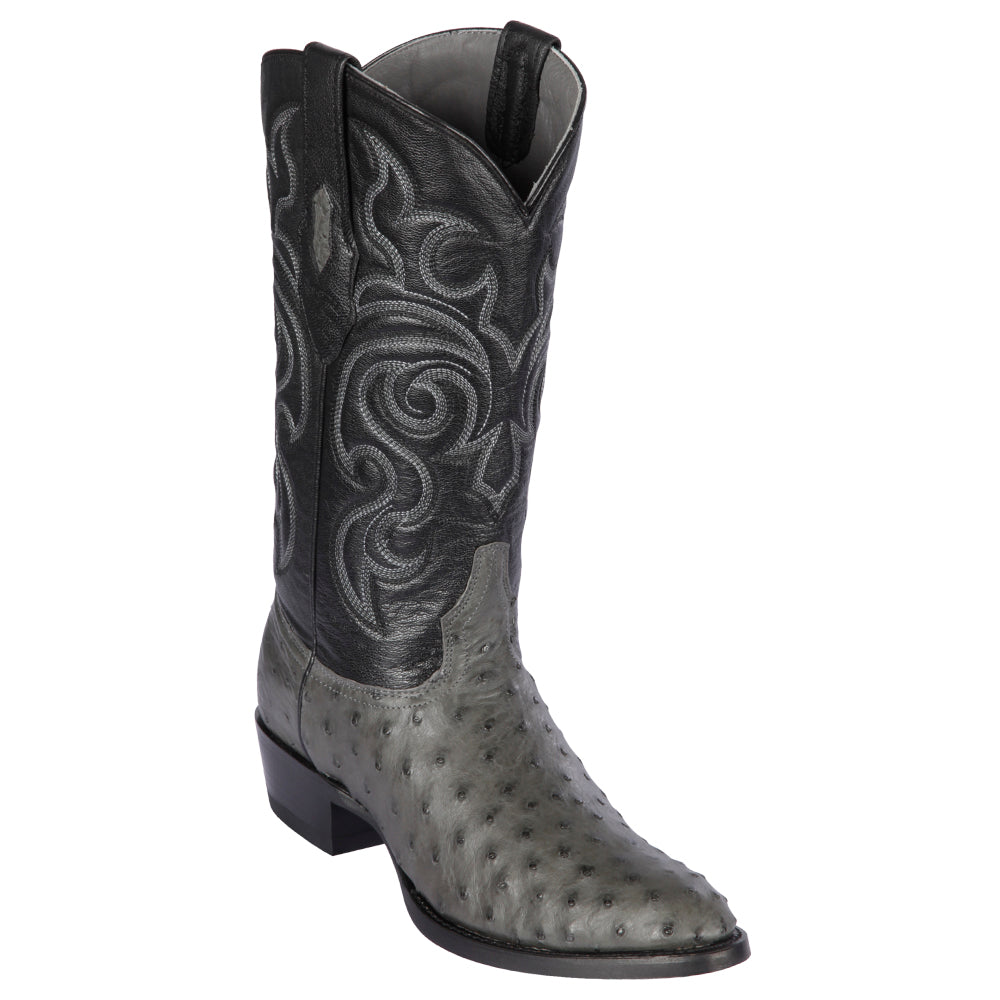 Grey Full Quill Ostrich Skin Boots Genuine Exotic Leather By Los Altos Yeehawcowboy