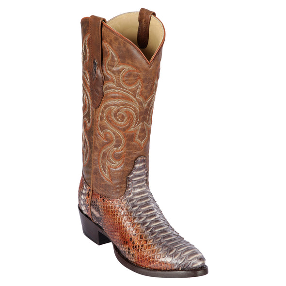 Men's Los Altos Python Round Toe Boots Genuine Snakeskin Handcrafted - yeehawcowboy