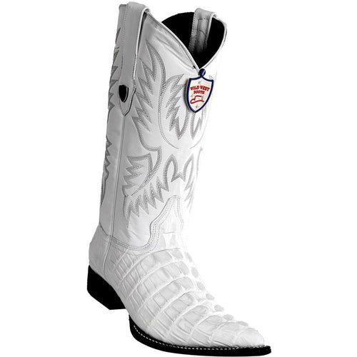 Men's Wild West Caiman Tail Print Boots 3X Toe Handcrafted - yeehawcowboy