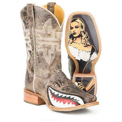 Men's Tin Haul Toastin A Gnarly Shark Boots With Beer Girl Sole - yeehawcowboy