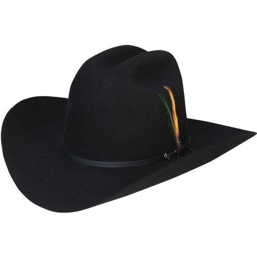 6x Stetson Rancher Fur Felt Hat With Feather Black - yeehawcowboy