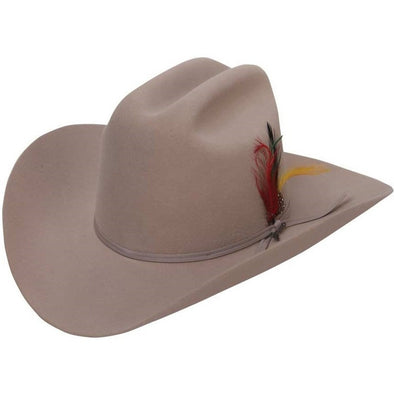 6x Stetson Rancher Fur Felt Hat With Feather Silver Belly - yeehawcowboy