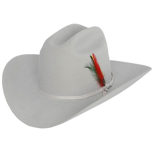 6x Stetson Rancher Fur Felt Hat With Feather Silver Gray - yeehawcowboy