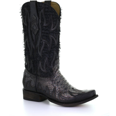 Men's Corral Python Boots Handcrafted Black - yeehawcowboy