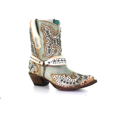 Women's Corral Leather Ankle Boots Handcrafted Turquoise - yeehawcowboy