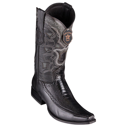 Men's Los Altos Ostrich Leg Boots With Deer European Square Toe Handcrafted - yeehawcowboy