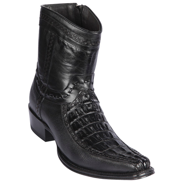 Men's Los Altos Caiman Tail And Deer Boots European Square Toe Handcrafted - yeehawcowboy