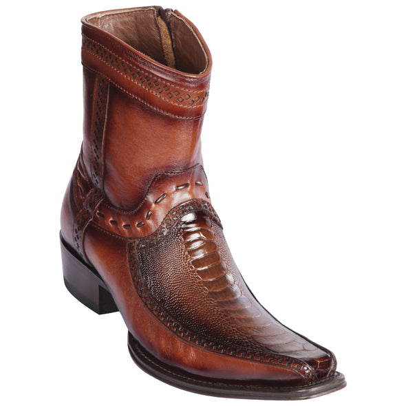 Men's Los Altos Ostrich Leg And Deer Boots European Square Toe Handcrafted - yeehawcowboy
