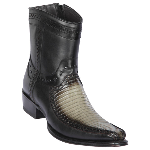 Men's Los Altos Teju Lizard And Deer Boots European Square Toe Handcrafted - yeehawcowboy