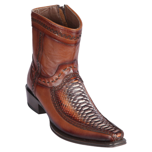 Men's Los Altos Python And Deer Boots European Square Toe Handcrafted - yeehawcowboy