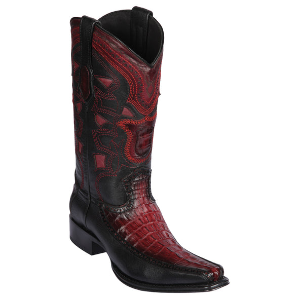 Men's Los Altos Caiman Tail & Deer European Square Toe Boots Handcrafted - yeehawcowboy