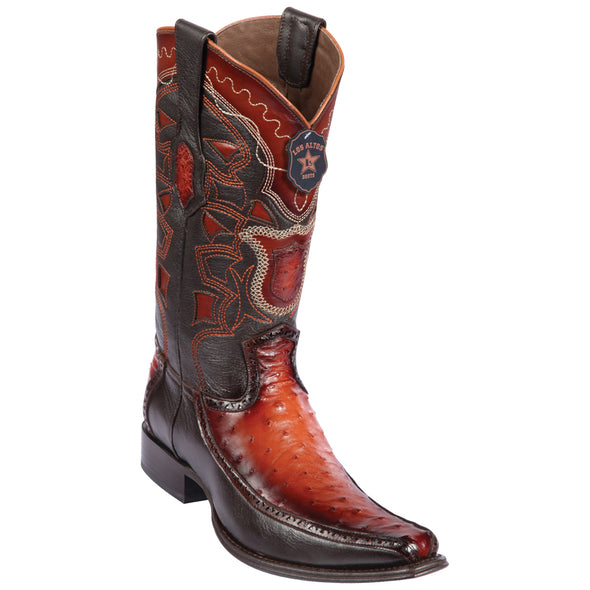 Men's Los Altos Full Quill Ostrich Boots With Deer European Square Toe Handcrafted - yeehawcowboy