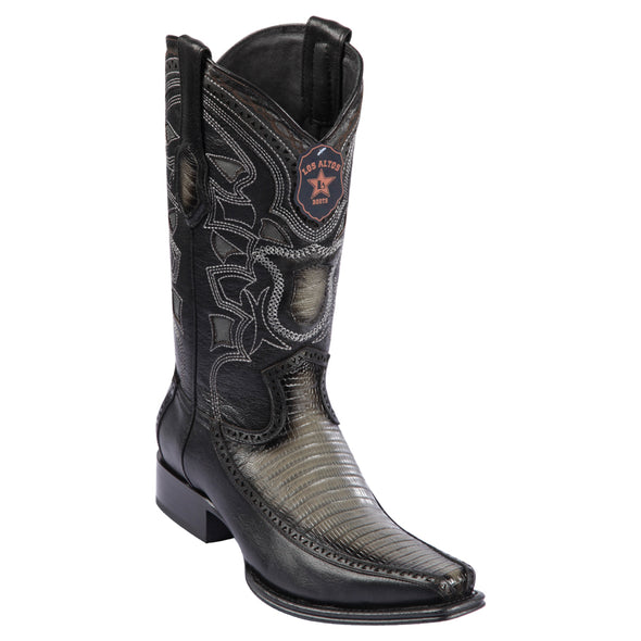Men's Los Altos Teju Lizard With Deer European Square Toe Boots Handcrafted - yeehawcowboy