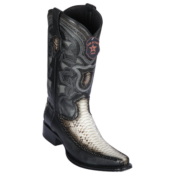 Men's Los Altos Python With Deer European Square Toe Boots Handcrafted - yeehawcowboy