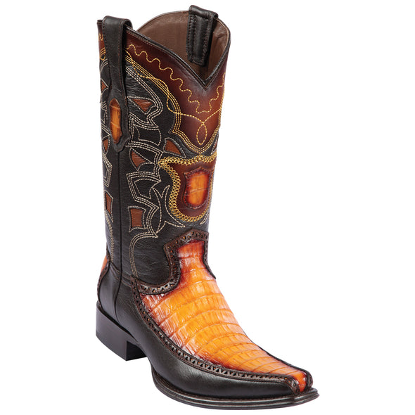 Men's Los Altos Caiman Belly With Deer European Square Toe Boots Handcrafted - yeehawcowboy