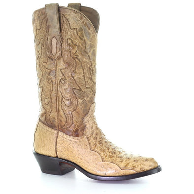 Men's Corral Ostrich Boots Handcrafted Ivory - yeehawcowboy