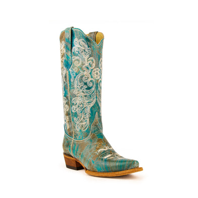 Women's Ferrini Southern Charm Leather Boots Handcrafted Turquoise - yeehawcowboy
