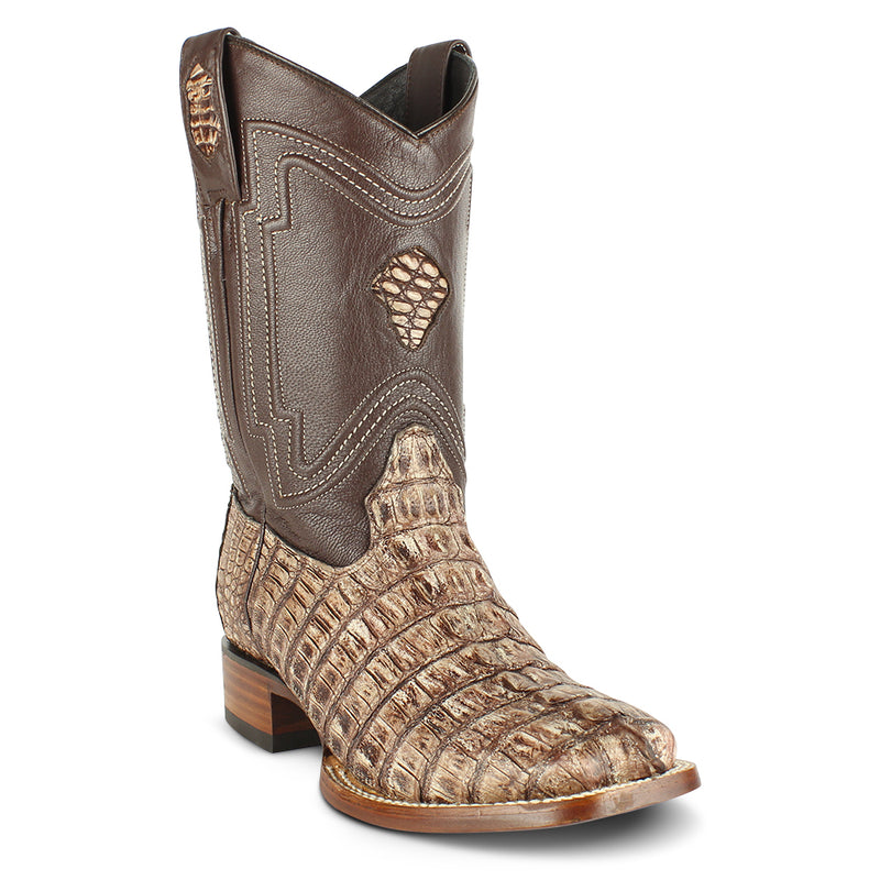 Men's Yeehaw Cowboy Caiman Tail Boots Square Toe Handcrafted - yeehawcowboy