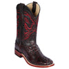 Men's Los Altos Square Toe Caiman Hornback Boots - Black  Cherry - yeehawcowboy