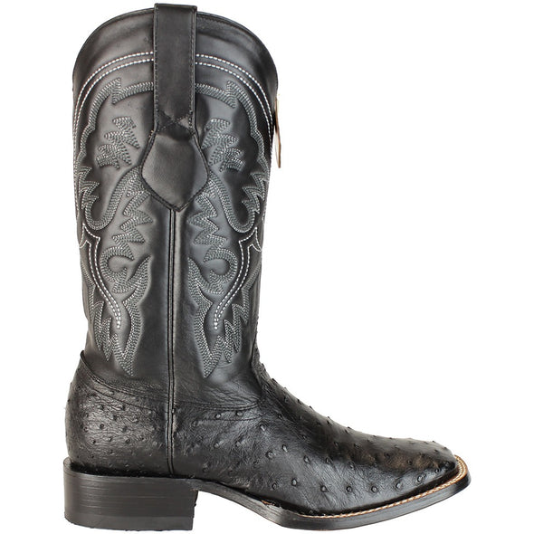 Men's King Exotic Square Toe Full Quill Ostrich Boots Handmade - yeehawcowboy