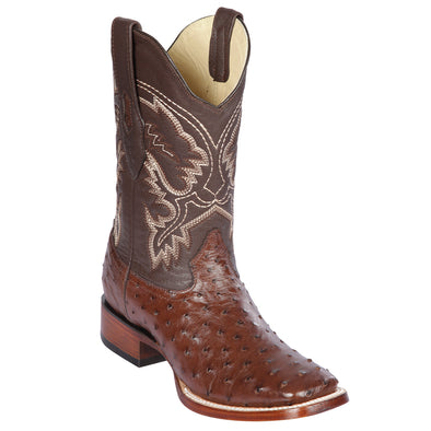 Men's Los Altos Full Quill Ostrich Square Toe Boots Handcrafted - yeehawcowboy
