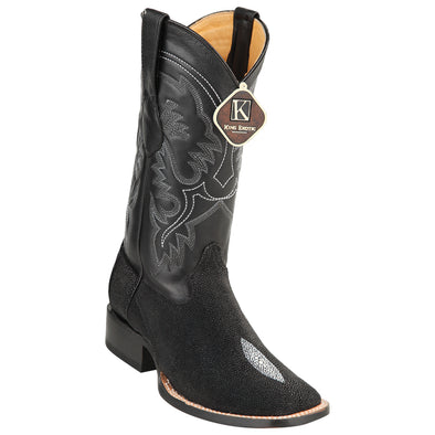 Mens King Exotic Boots Square Toe Stingray Single Stone Black - yeehawcowboy