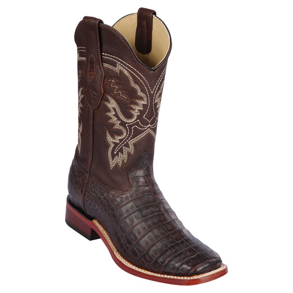 Men's Los Altos Caiman Belly Square Toe Boots Handcrafted - yeehawcowboy