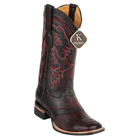 Men's King Exotic Ostrich Leg Boots With Rubber Sole & Saddle Square Toe - yeehawcowboy