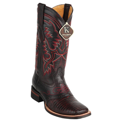 Men's King Exotic Teju Lizard Square Toe Boots With Saddle Handmade - yeehawcowboy