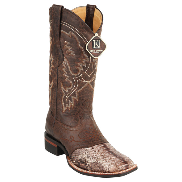 Men's King Exotic Python Boots Rubber Sole & Saddle Vamp Square Toe - yeehawcowboy