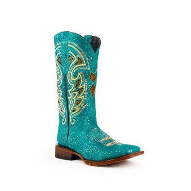 Women's Ferrini Shimmer Leather Boots Handcrafted Turquoise - yeehawcowboy