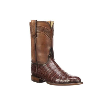 Men's Lucchese Wilson Caiman Belly Boots Handcrafted Sienna - yeehawcowboy