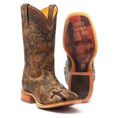 Men's Tin Haul John 3:16 Boots With Bible Verse Sole Handcrafted - yeehawcowboy