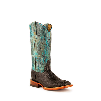 Women's Ferrini Stampede Caiman Print Boots Handcrafted Black - yeehawcowboy