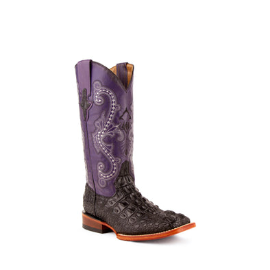Women's Ferrini Rancher Caiman Print Boots Handcrafted Black - yeehawcowboy