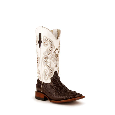 Women's Ferrini Rancher Caiman Print Boots Handcrafted Chocolate - yeehawcowboy