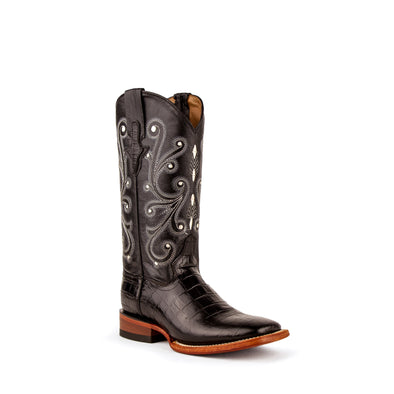 Women's Ferrini Mustang Alligator Belly Print Boots Handcrafted Black - yeehawcowboy