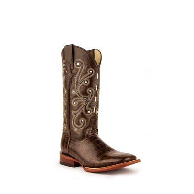Women's Ferrini Mustang Alligator Belly Print Boots Handcrafted Chocolate - yeehawcowboy