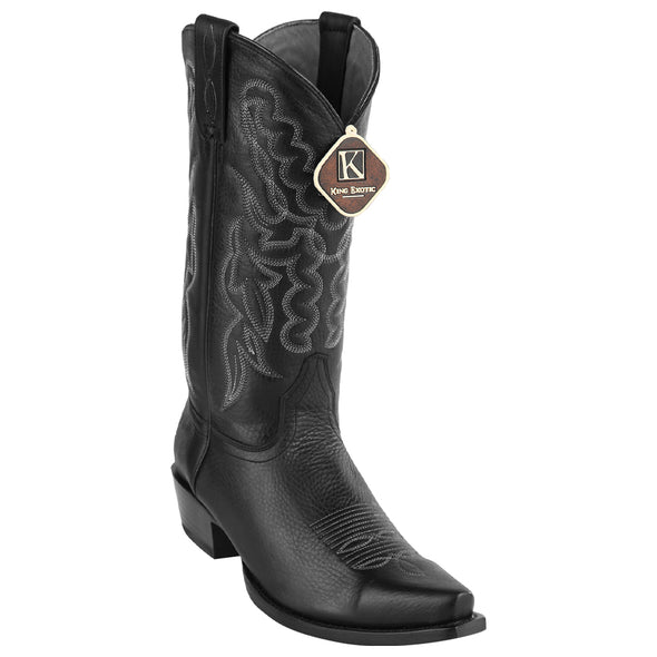Men's King Exotic Snip Toe Grisly Leather Boots Handmade - yeehawcowboy